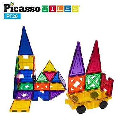 PicassoTiles PT26 Inspirational Set Magnet Building Tiles Clear Color Magnetic 3D Building Block - Creativity Beyond Imagination! Educational, Inspirational, Conventional, Recreational: Toys & Games