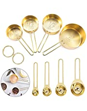 Globalstore Measuring Spoons and Cups, 8 Piece Stainless Steel Measuring Cups and Spoons Set with Engraved Marking Ruler for Measuring Dry and Liquid Ingredients Baking Cooking, Mixing, Food Process