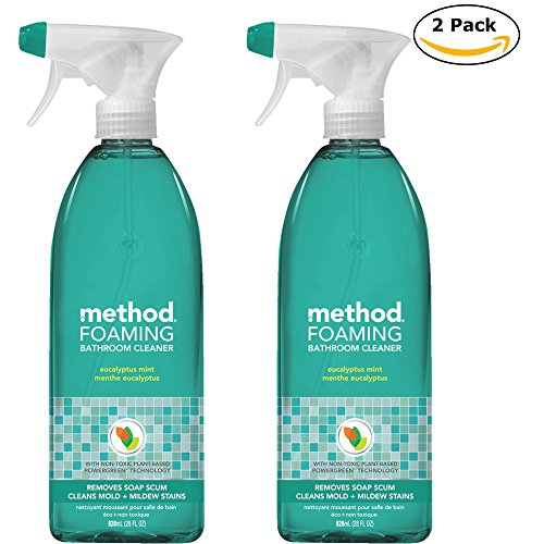 Method Naturally Derived Foaming Bathroom Cleaner Spray, Eucalyptus Mint, 28 FL Oz Twin Pack (28 x 2, Total 56 ()