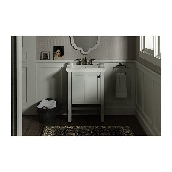 """KOHLER K-2604-1WA Tresham vanity, 24"""", Linen White - Finishes resists moisture, scratches and stains Three-way adjustable slow-close door hinges with 100-degree opening capability for easy cabinet access Includes decorative cabinet hardware - bathroom-vanities, bathroom-fixtures-hardware, bathroom - 51YoBlTHwCL. SS570  -"""
