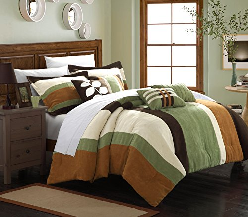 Chic Home 7-Piece Highland Plush Micro Suede Striped Comforter Set, King, Green/Brown/Cream