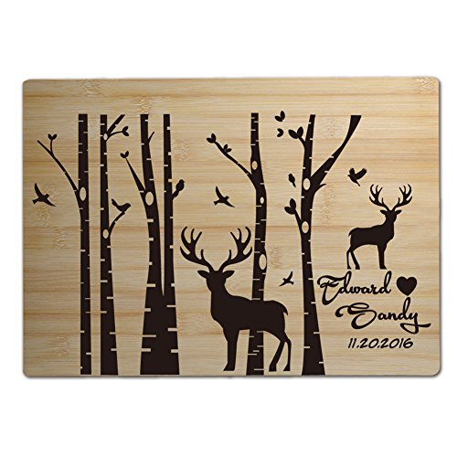 Engraved Cutting Board Personalized Birch Tree with Deer,Nat