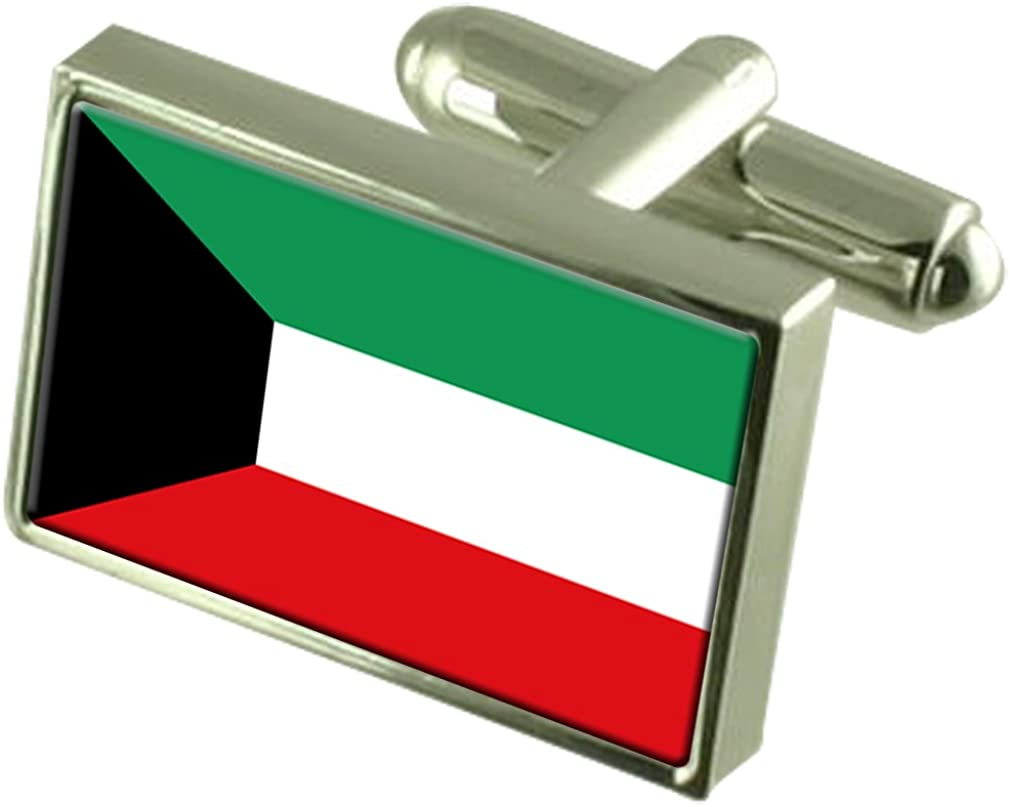 Kuwait Sterling Silver Flag Cufflinks in Engraved Personalised Box