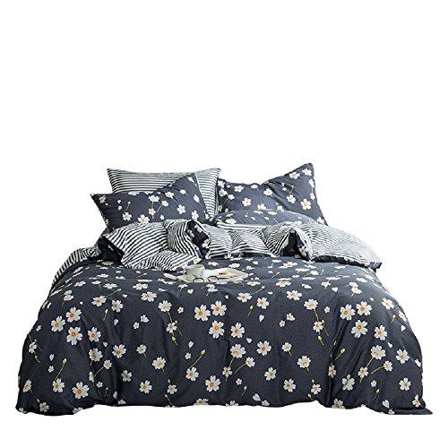 (Vintage Flower Duvet Cover Set Queen Cotton Printed Bedding Romantic Floral Duvet Cover with 2 Pillow Shams Reversible Striped Bedding Sets Bedding Sets (Queen, Daisy))