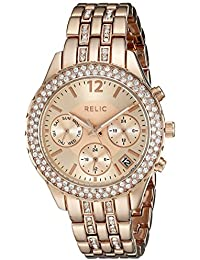 Women's ZR15787 Merritt Analog Display Crystal-Accent Rose-Tone Bracelet Watch