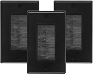 VCE 3-Pack Single Brush Wall Plate Cable Pass Through Insert for Wires, Single Gang Cable Access Strap, Wall Socket for HDTV, Home Theater Systems - Black