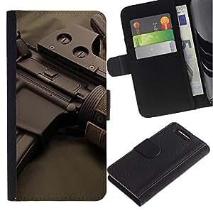 ZONECELL ( No Para Xperia Z1 ) Imagen Frontal Negro Cuero Tarjeta Ranura Trasera Funda Carcasa Diseño Tapa Cover Skin Protectora Case Para Sony Xperia Z1 Compact D5503 - rifles de asalto