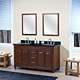 Bathroom Vanity Base MAYKKE Aiden 60 Inch Bathroom Vanity Cabinet in Birch Wood American Walnut Finish, Double Floor Mounted Brown Vanity Base Cabinet with Brushed Nickel Hardware YSA1136001