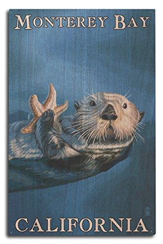 Monterey Bay  California   Sea Otter  10X15 Wood Wall Sign  Wall Decor Ready To Hang