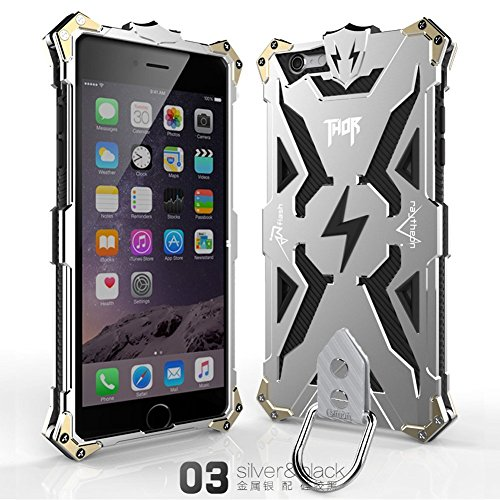 Iphone 6 6s Case, Lwang Aviation Aluminum Anti-scratch Strong Protection Metal Case for Iphone 6 6s , Hollow Design Full Signal Iphone 6 6s Thor Case (silver/black) ()