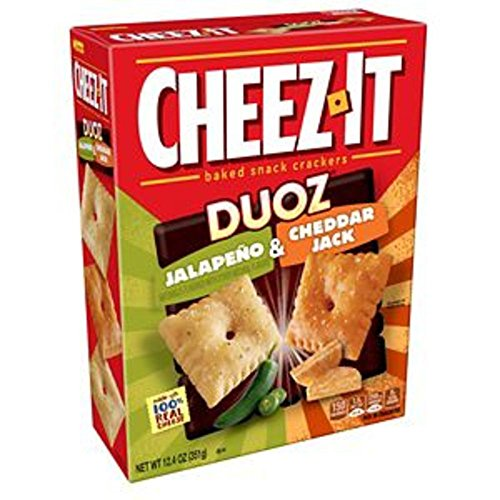 Cheez-It DUOZ Baked Snack Cheese Crackers, Jalapeno & Cheddar Jack, 12.4 oz Box(Pack of 12) by Cheez-It
