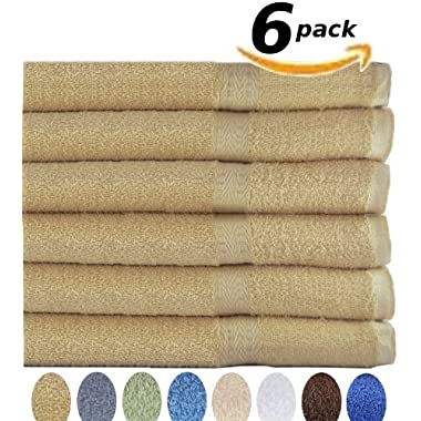 Pure Cotton Hotel & Spa Bath-Towels - 6 Pack (27  x 54  inches) 400 GSM Easy Care, Ringspun Cotton for Maximum Softness and Absorbency - By Utopia Towels (Champaign)