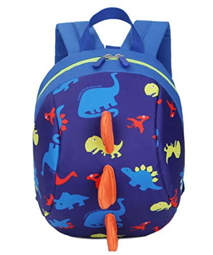 Toddler kids Dinosaur Backpack Book Bags with Safety Leash for Boys Girls (6 Dark blue)]()