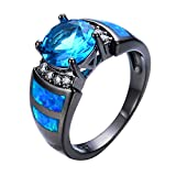 WOWJEW Luxury Jewelry Blue Fire Opal Ring Black Gold Filled Wedding Finger Aquamarine Zircon Ring Birthday