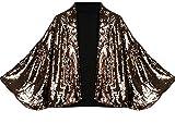 Jaycargogo Women Fashional Outerwear Batwing Sleeve Sexy Sequins Blazers Golden M