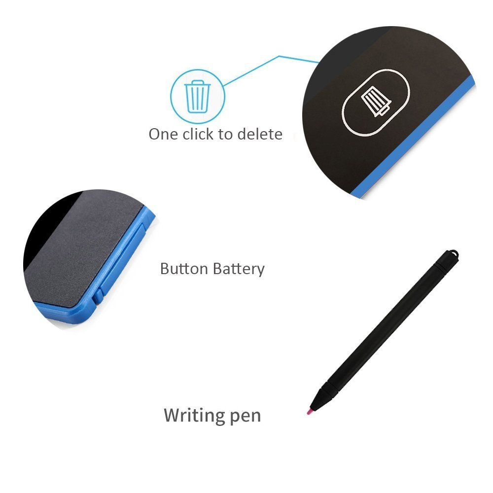 LCD Writing Tablet Colorful Electronic Graphic Drawing Board Rewritten Tablet Durable Handwriting Gift for Kids School Office Memo and Taking Notes 8.5 Inch Blue - Uverbon