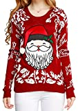 Image of Ugly Christmas sweater, V28 Women Girls ladies 3D Cute Santa Xmas Knit Sweater(M, Cute Red)