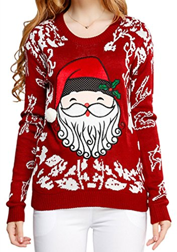 Ugly Christmas sweater, V28 Women Girls ladies 3D Cute Santa Xmas Knit Sweater(M, Cute Red) Image
