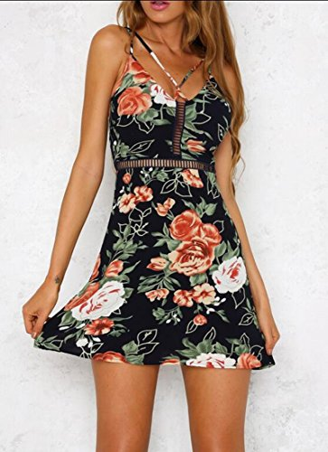Dress Floral Print Sleeveless Sexy Jaycargogo Neck V Women's Party 1 Of8xEqw