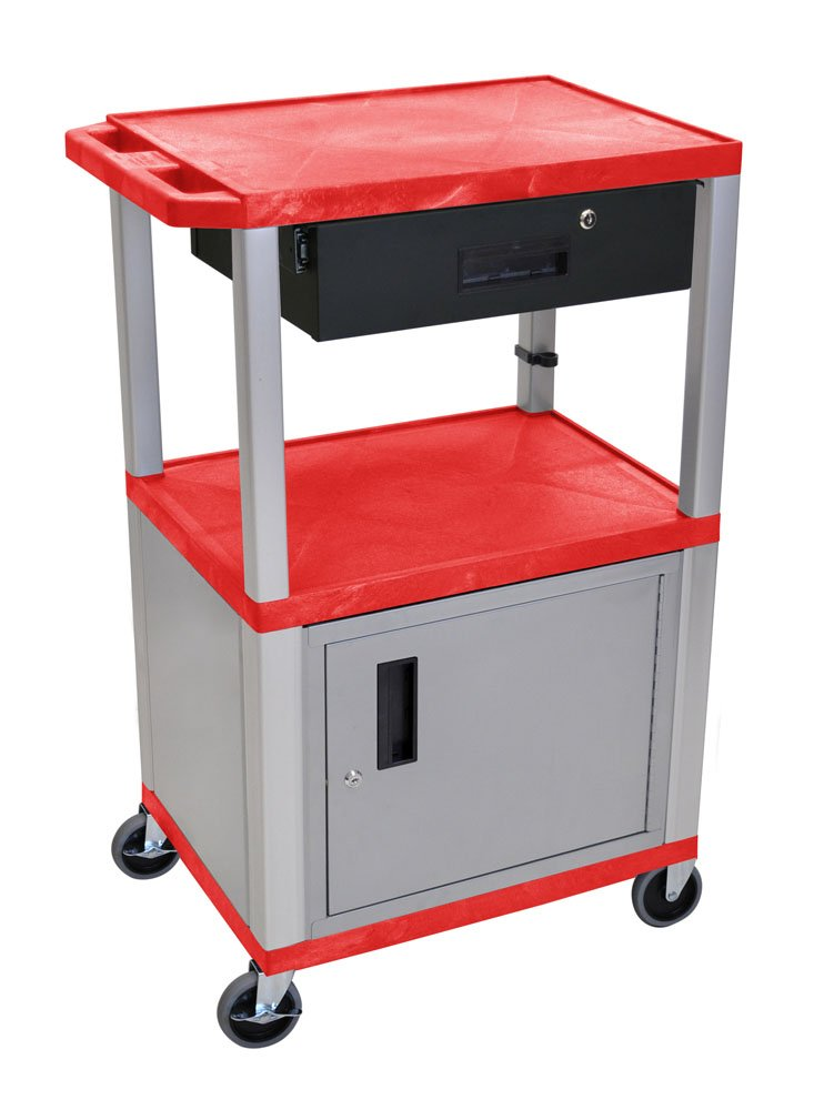 H.Wilson WT42RC4E-N-WTD Tuffy Cart Red with Cabinet 3 Shelves Nickel Legs and Drawer