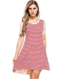 Meaneor Women Basic Patchwork Swing Dress High Low Hem short dress with Pockets