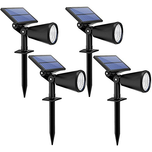 Mpow Upgraded Solar Lights, 2-in-1 Adjustable Waterproof Solar spotlight, Outdoor Landscape/Wall Lighting, Auto On/Off Security Lights for Pathway, Garden, Lawn, Yard, Pool, Driveway (4 Pack) by Mpow
