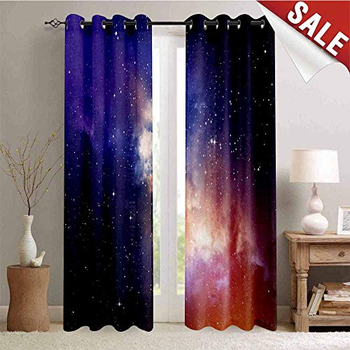 - Hengshu Space Window Curtain Fabric Stars in Sky Supernova Comet Constellation Light Years Meteor Planetary Image Drapes for Living Room W96 x L96 Inch Dark Blue Purple