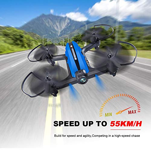 Mini Drone Racing Drone Quadcopter 720P Wide Angle HD Camera Live Video Headless Mode One Key Return 3D Flips 2.4GHz 6 Axis Gyro Remote Control Helicopter RC Drone Boys Adults Toys Red+Blue For Sale