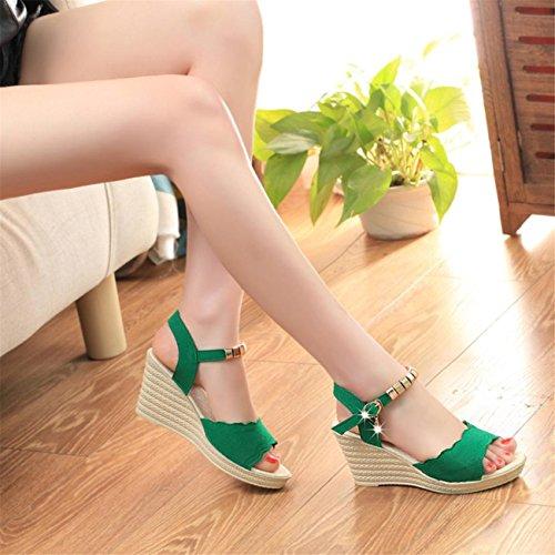 Sandales Vert Mode Chaussures Sandales Plate Compensé Compensées Forme Sandales Bout Femme Sandales Été Talon Pente Mocassins Sandales Hauts Talons Tongs Femmes Chaussures Ouvert pxrap
