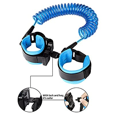 Anti Lost Wrist Link-Wrist Leash for Toddlers Babies Kids-Child Safety Wristband with Lock (2.5M/98inch Blue)