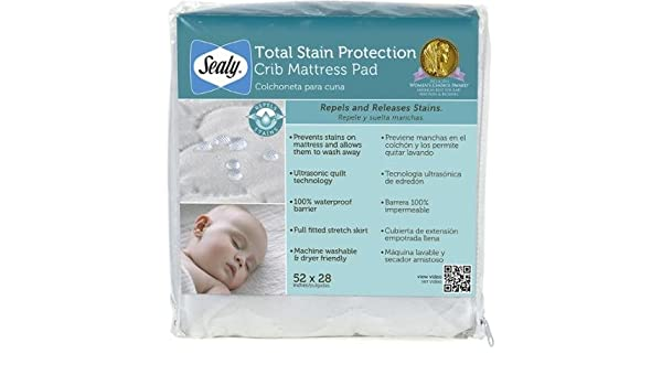 Amazon.com : Sealy Total Stain Protection Crib Mattress Pad Waterproof Barrier : Baby