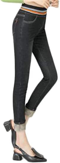 [ンーセンー] レディース 裏起毛 暖か ストレッチ スリム フィット デニム ジーンズ 伸縮 パンツ ハイウェスト 体型カバー 防寒 暖かい 無地