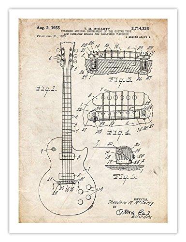 Gibson Les Paul Guitar Poster, 1955 Patent Art, Parchment Color Matte Paper