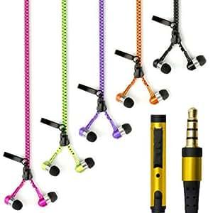 Theoutlettablet® Auriculares In-Ear Con Cremallera HIFI Estéreo Dispone de Micrófono Manos Libres para Smartphone Asus ZenFone 2 (ZE551ML) COLOR VERDE