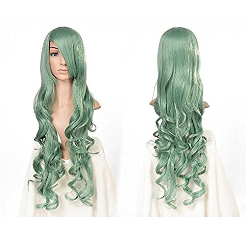 Tsnomore Long Green Color Spiral Curly Cosplay Wig