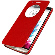 Amzer Flip Case Folio Cover with Quick Circle View for LG G3 D855 - Retail Packaging - Red