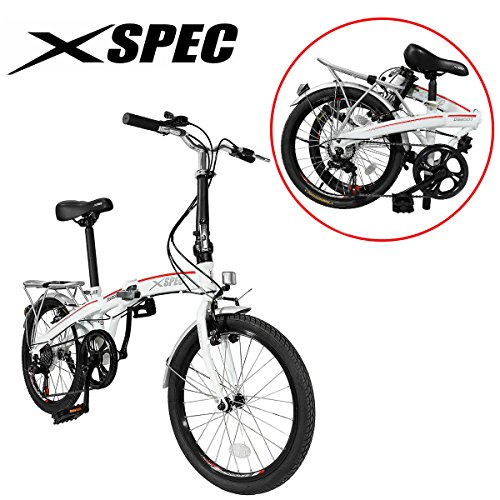 Xspec 20' 7 Speed City Folding Mini Compact Bike Bicycle Urban Commuter Shimano White