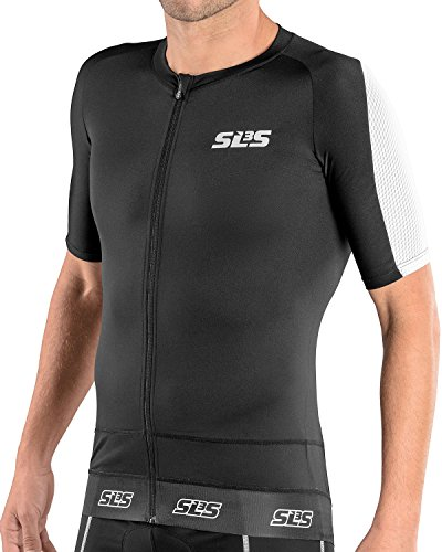 SLS3 Triathlon Men`s FX Tri Top Short Sleeve | 1 Pocket | Full Zipper | Jersey | Singlet | Tank | German Designed 2018 (Black/White, M) - Aero Tri Top
