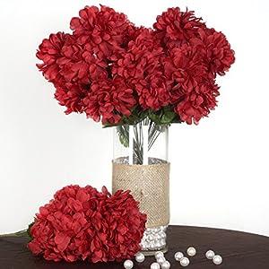 Tableclothsfactory 56 Large Chrysanthemum Mums Balls Artificial Wedding Flowers - 4 bushes - Burgundy 68