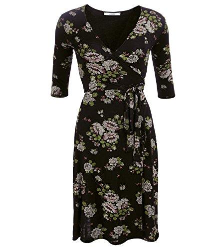 Imprimé Floral Wrap Dress Floral Noir Et Vert Des Femmes De Bananes Bleues