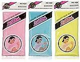 Salux Nylon bath towel blue yellow pink 3pc set