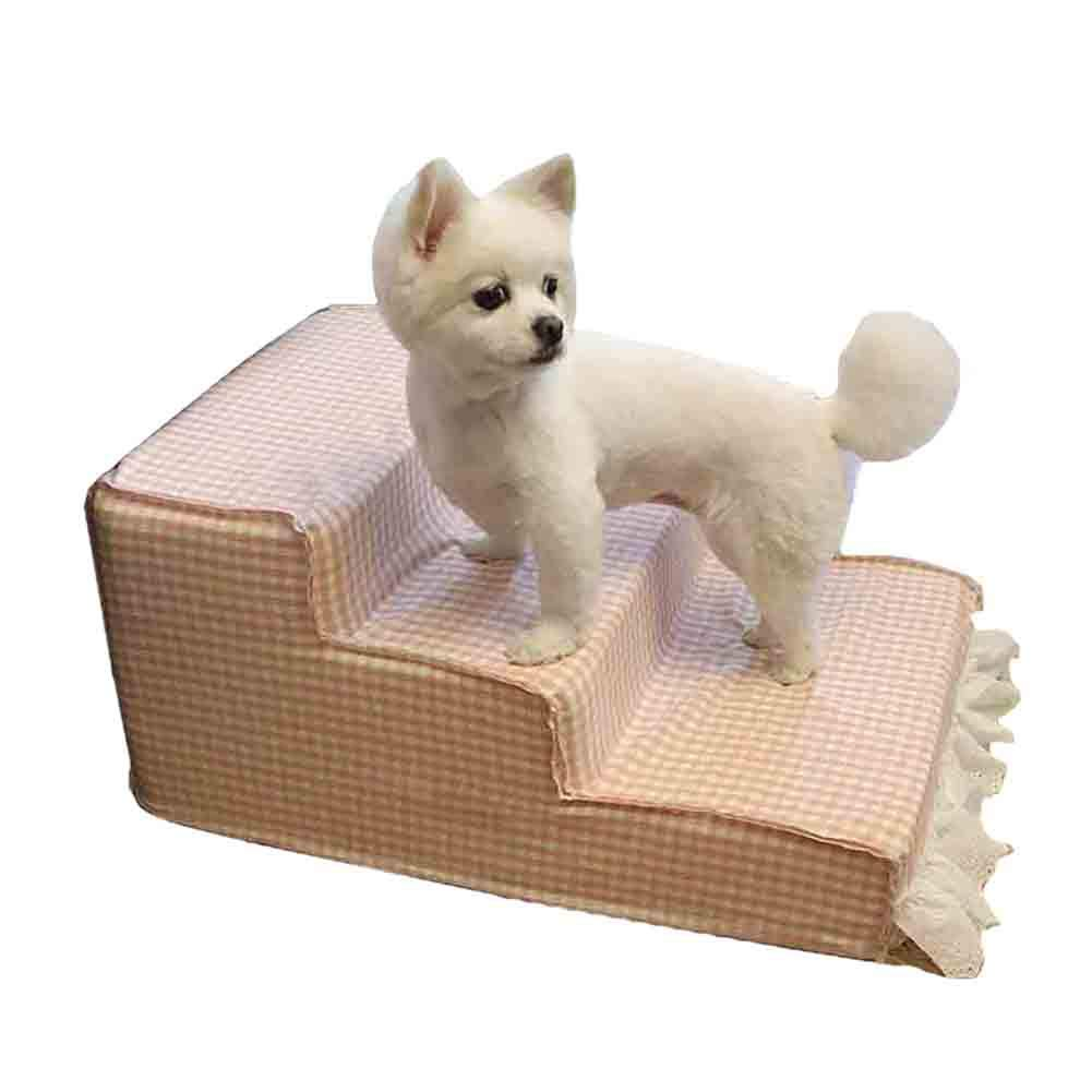 3 Step Pet Stool Dog Stairs Pink Sponge Cat Ladder Indoor Pet Gear, Washable Cover, 60X40X33cm