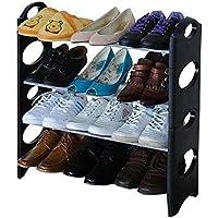Naila Double Dustproof & Dampproof Shoe Rack Shoe Stand Shoe Cabinet Shoe Organiser Shoe Rack Home & Office Shoe Rack Plastic Collapsible Shoe Stand (Black)