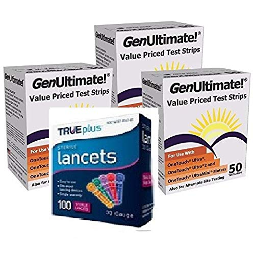 Genultimate Blood Glucose Test Strips for Use with One Touch Ultra, Ultra 2 and Ultra Mini Meter, 150 Strips with 100 Lancets by Bistras