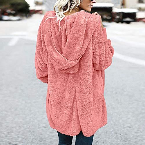 Hiver Femme Fluffy Tenue Longues De Dogzi Capuche Sweat Cardigan Rose Coton En Veste Laine Tops Manches À Peluche Chaude BxWHzxnF