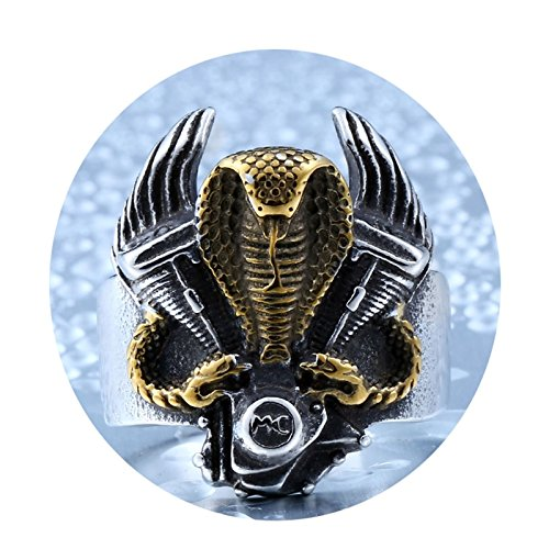 Daesar Anillo Gotico Hombre Anillos Acero Inoxidable Anillo Hombre Retro Anillo Serpiente Cobra Anillo Plata Oro Anillo...