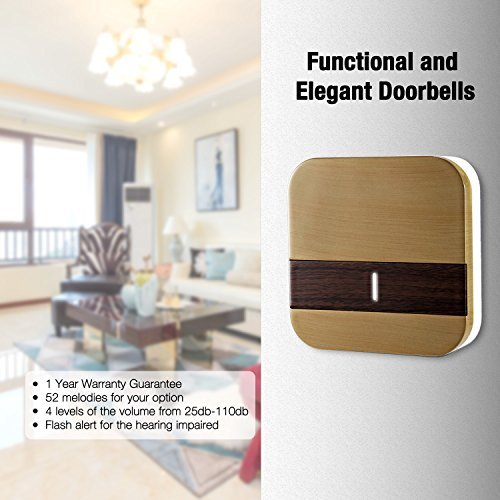 Wireless Doorbell, Doorbell Kit Included Battery, Plug in Cordless Door Chime Kit, Wirless Doorbell Kit Support MP3 Doorbell with 1000-feet Range, 52 Chimes, Waterproof Button, appropriate for Plug in Door Entry Bell, Ring Doorbell, Electri