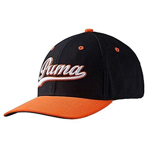 Puma Golf- Script Fitted Cap, Black/Vibrant Orange, Large/X-Large