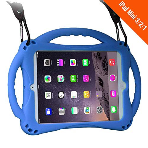 (TopEs iPad Mini Case Kids Shockproof Handle Stand Cover&(Tempered Glass Screen Protector) for iPad Mini, Mini 2, Mini 3 and iPad Mini Retina Models (Blue))