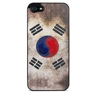 Hi-Fun - FL5 - CO funda con tapa para iPhone 5, de bandera de Corea